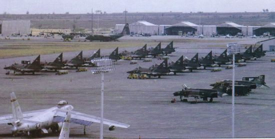 Rows of F-102 fighters stationed at Tan Son Nhut in Vietnam in 1969