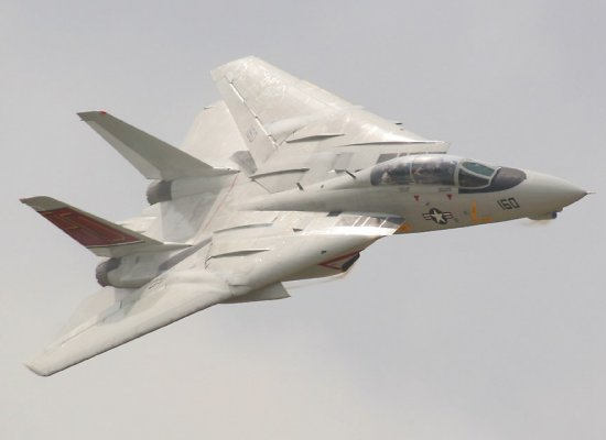 F-14 with wings fully swept back during high speed flight