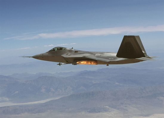 F-22 firing an AIM-9M from the left side bay