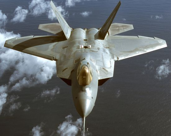 Canted vertical stabilizers on the F-22