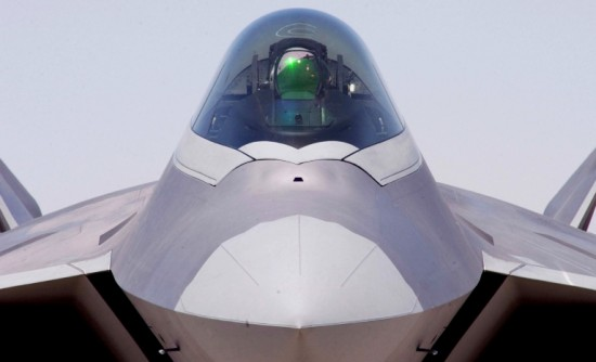 Closeup of the nose and cockpit of an f 22 raptor