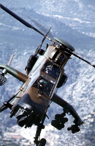 Closeup of the Eurocopter Tiger in flight