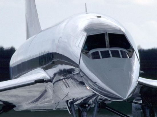 Closeup of the Concorde nose swiveled downward