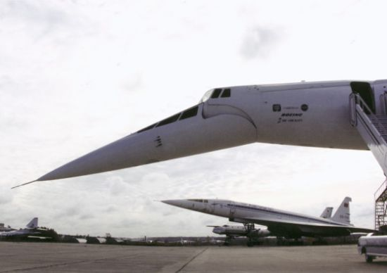 Closeup of the Tu-144 nose swiveled downward