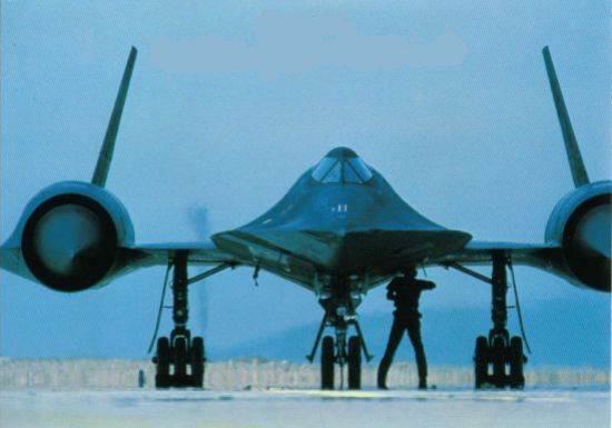 Forward view of the turboramjet engines used on the SR-71