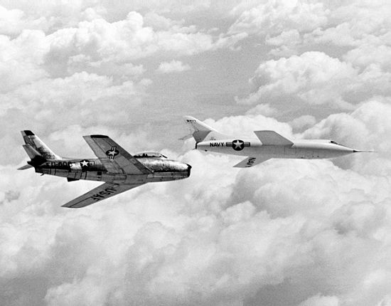 Actual photo of the D-558-2 Skyrocket in flight with an F-86 Sabre