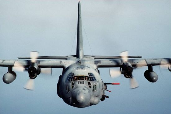C 130 Gunship. Red barrel of the 105-mm
