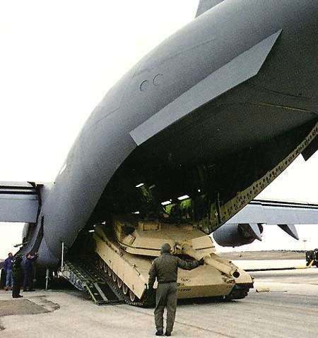M1 tank being loaded onto a C-17