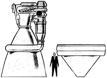 Size comparison of a bell and a plug nozzle