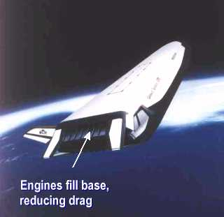 Illustration of aerospike nozzles installed on the X-33