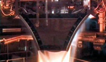 Aerospike engine being test fired