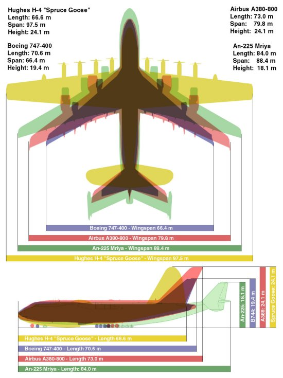 Hawaii.  Accurate size comparison chart for world's biggest planes...An-225 takes the spot.