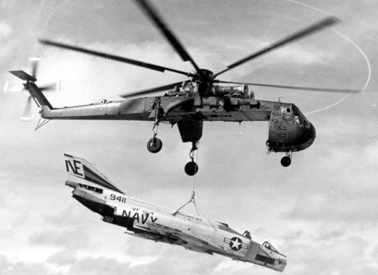 CH-54 Tarhe recovering a damaged F-4 Phantom II