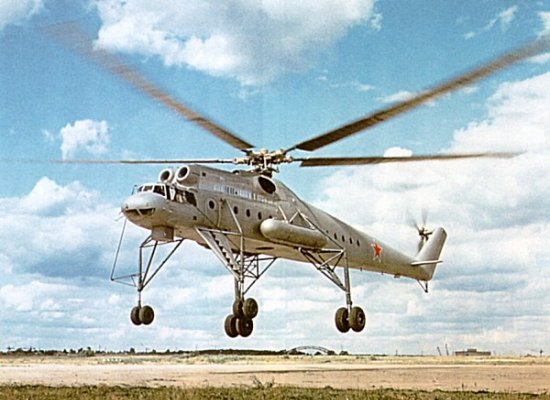 Mil Mi-10 showing its long landing gear legs