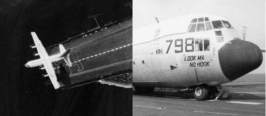 Views of the KC-130 operating from the Forrestal