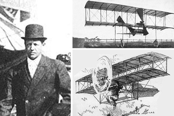 Augustus Herring and two views of his powered glider
