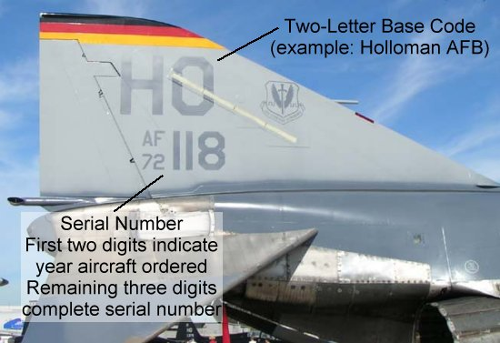Tail code of an F-4 of the 49th Fighter Wing at Holloman AFB in New Mexico